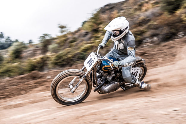 This Triumph Trackmaster flat tracker raced by Dave Hansen is now back on the ovals.