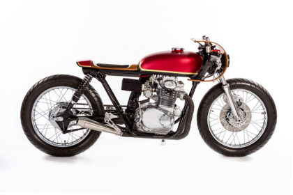 This Honda CB350 motorcycle has been beautifully customized with wood bodywork