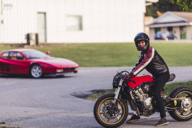 Rosso Corsa: A Honda CB600F Cafe Racer Inspired by a Ferrarii""