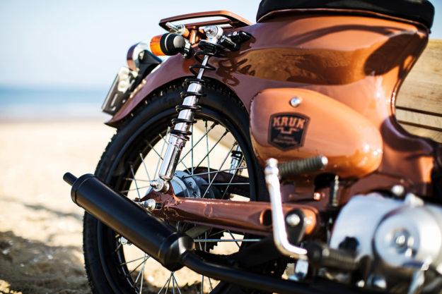 Honda Cub clone with surfboard rack by KRUK