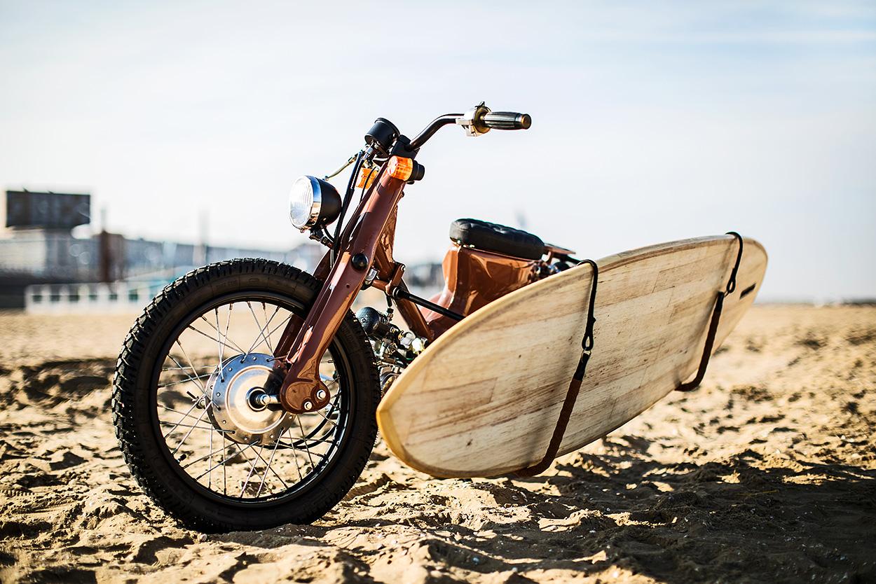 Honda Cub clone with surfboard rack by KRUX
