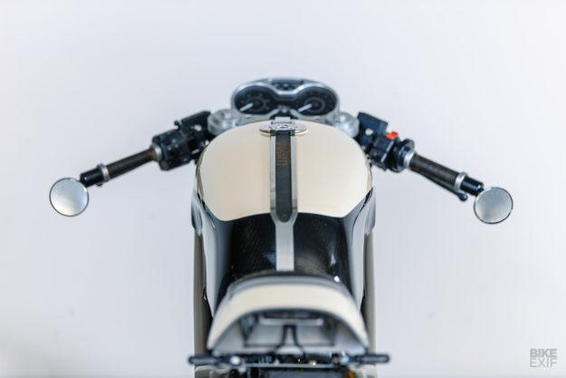 A Ducati Monster 400 cafe racer with basalt fiber bodywork