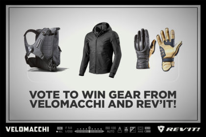 Win motorcycle gear from Velomacchi and REV'IT!