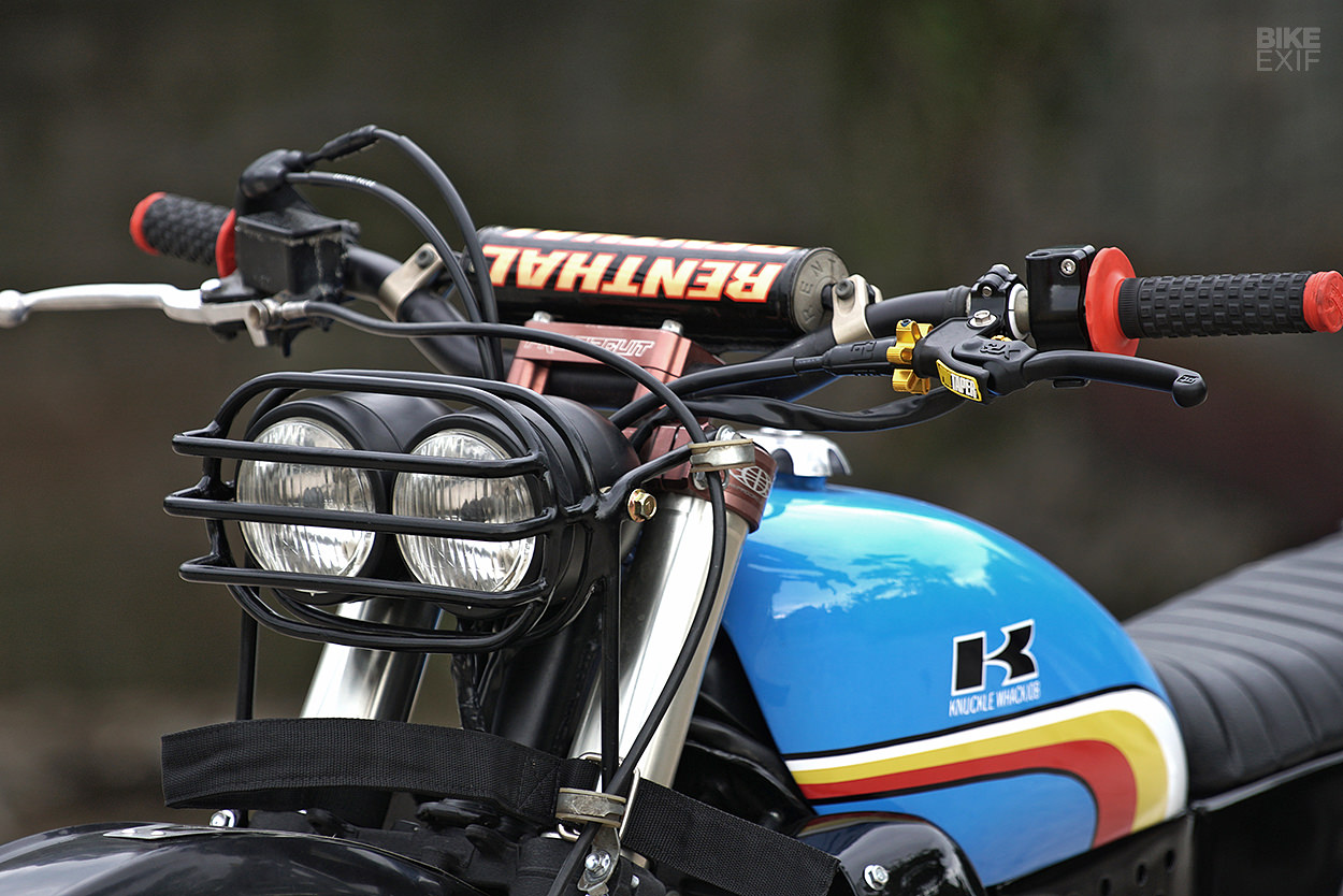 Knuckle Whackjob Gives The Klx250 A Vintage Enduro Vibe Bike Exif Kawasaki Klx Wiring Harness Vivid Blue Punctuated With Red Yellow And White Stripes Decal Under Period Correct K Is Just Killer