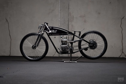 This board tracker motorcycle from Wolf Creative Customs is powered by a Briggs & Stratton engine