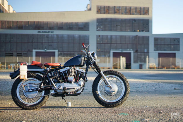 This sweet custom 1966 XLCH Sportster has see-through pushrod covers made from Pyrex
