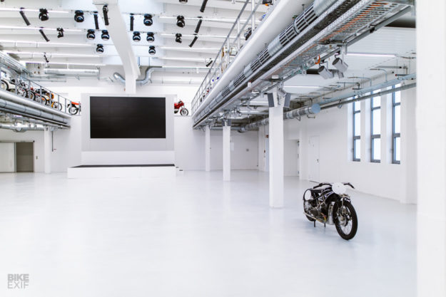 This supercharged vintage WR 750 replica hides behind closed doors at BMW.