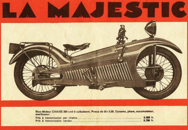 Advertisement for the Majestic motorcycle designed by Georges Roy