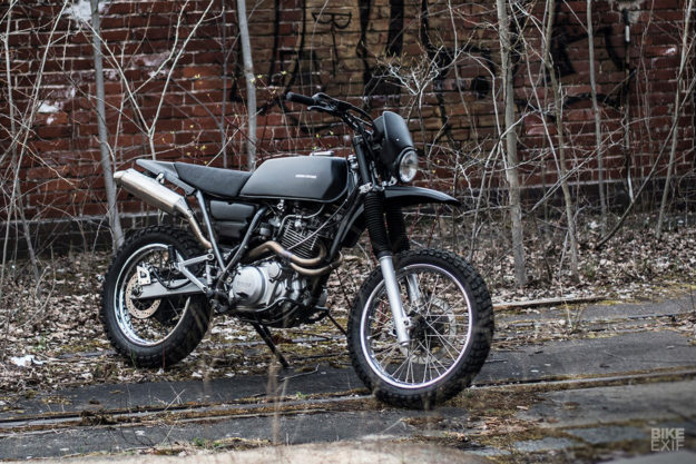 A discreetly modified 2002 Yamaha XT 600 scrambler by Berham Customs