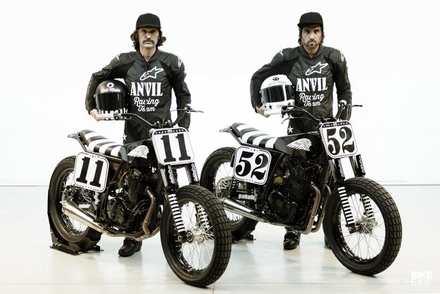 Anvil Motociclette's matching Suzuki and Honda flat trackers
