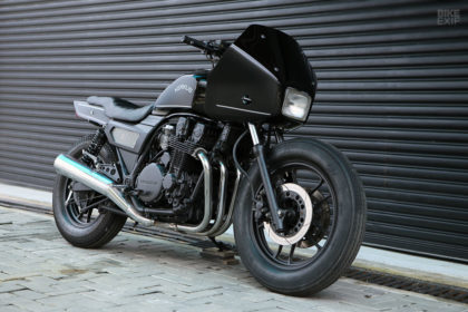 A recommissioned Honda CBX750 police motorcycle by Kerkus