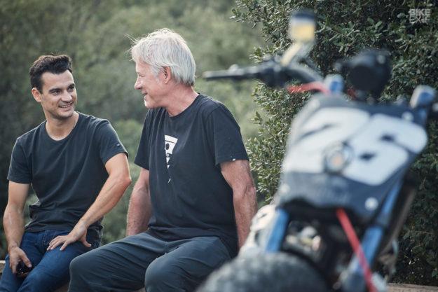 Dani Pedrosa and Michael Woolaway of Deus Ex Machina USA