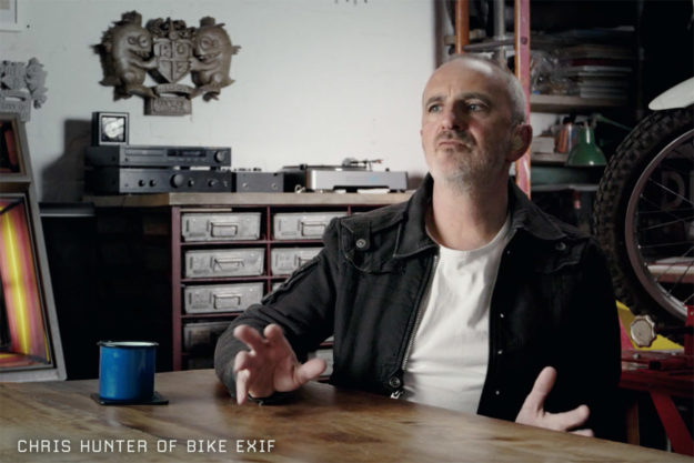 Chris Hunter of Bike EXIF, interviewed for Oil In The Blood—the definitive movie about the custom motorcycle and cafe racer scene